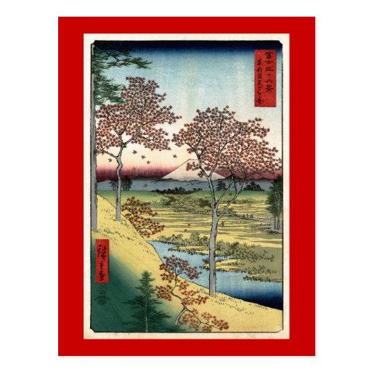 Sunset Hill Meguro Hiroshige Japanese Fine Art Postcard