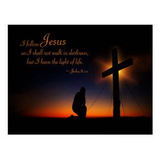 Sunset Holy Cross Bible Verse John 8:12 Custom Postcard