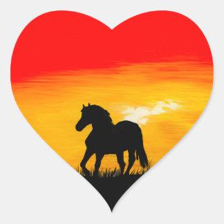 sunset horse heart sticker