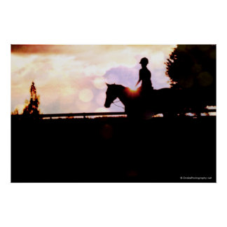 Sunset Horse Ride Poster