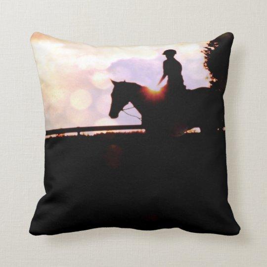Sunset Horse Ride Throw Pillow