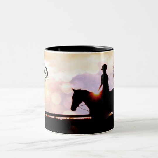 Sunset Horse Ride Two-Tone Coffee Mug