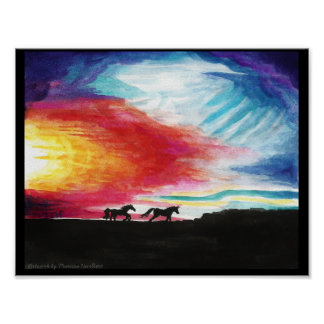 "Sunset Horses Art Color Poster 11"" x 8.5"""