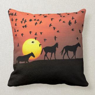 Sunset Horses Birds Nature Scenery Throw Pillow