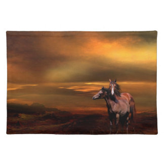 Sunset horses cloth placemat