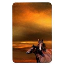 Sunset horses magnet