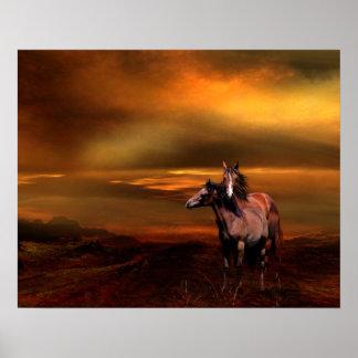 Sunset horses print