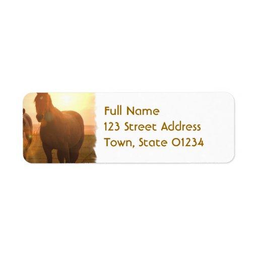 Sunset Horses  Return Address Mailing Label