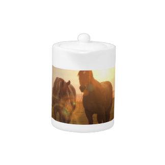 Sunset Horses Teapot