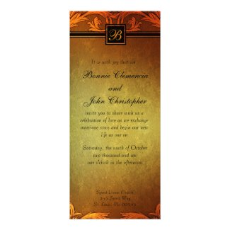 Sunset Hues Fall Wedding Monogram Design Invitation