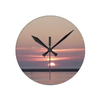 sunset Humboldt Bay Eureka California by Gregory V Round Clock