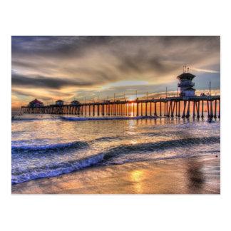 Sunset Huntington Beach Ca Postcard