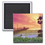 Sunset, Huntington Beach pier, California, U.S.A. 2 Inch Square Magnet