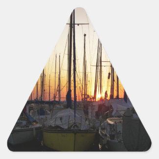 Sunset In A Marina Triangle Sticker