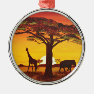 Sunset in Africa Metal Ornament