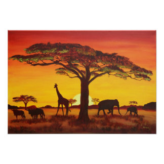 Sunset in Africa Poster