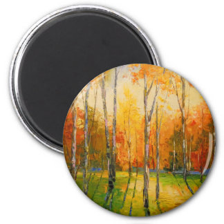 Sunset in autumn forest magnet