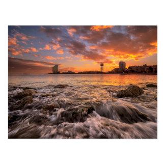 Sunset In Barcelona Postcard