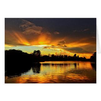 Sunset In City Londrina, Brazil Card