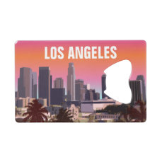 Sunset In Downtown Los Angeles California Credit Card Bottle Opener