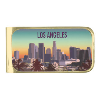 Sunset In Downtown Los Angeles, California Gold Finish Money Clip