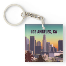 Sunset In Downtown Los Angeles, California Keychain