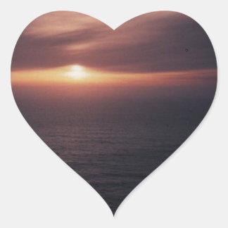 Sunset in Florence Oregon Heart Sticker