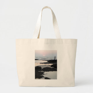 sunset in Goa Large Tote Bag