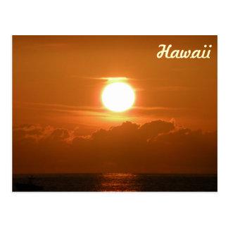 Sunset in Kona, Hawaii Postcard with Boat