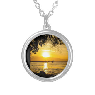 Sunset in Lahaina Round Pendant Necklace