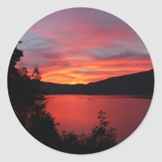 Sunset in Lake and mountain views Classic Round Sticker
