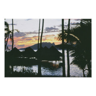 Sunset in Moorea Poster