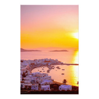 Sunset in Mykonos, Greece Stationery