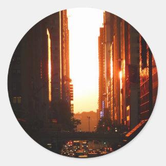 Sunset in New York City Classic Round Sticker