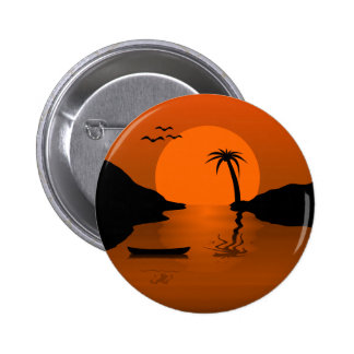 Sunset in Paradise Islands and Palm Trees 2 Inch Round Button