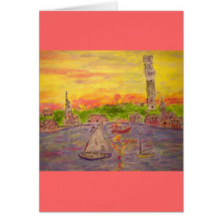 sunset in provincetown Peace On Earth Card