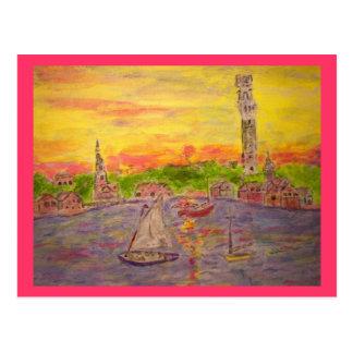 sunset in provincetown Peace On Earth Postcard