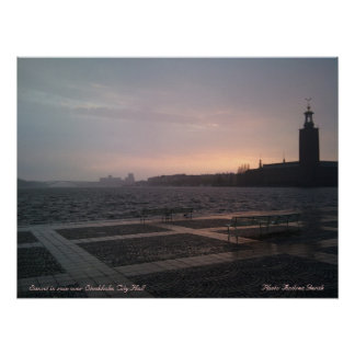 Sunset in rain over Stockholm City Hall 1, Suns... Poster