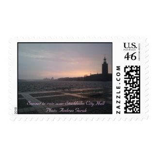 Sunset in Rain Over Stockholm City Hall Postage