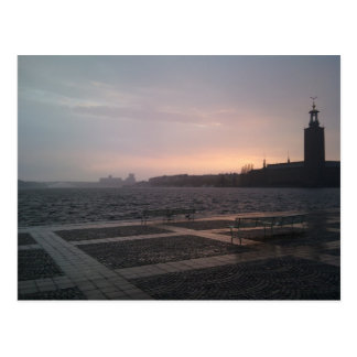 Sunset in rain over Stockholm City Hall Postcard