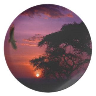 Sunset In Serengeti, Africa Dinner Plate
