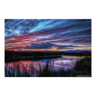Sunset in Suisun Marsh Poster