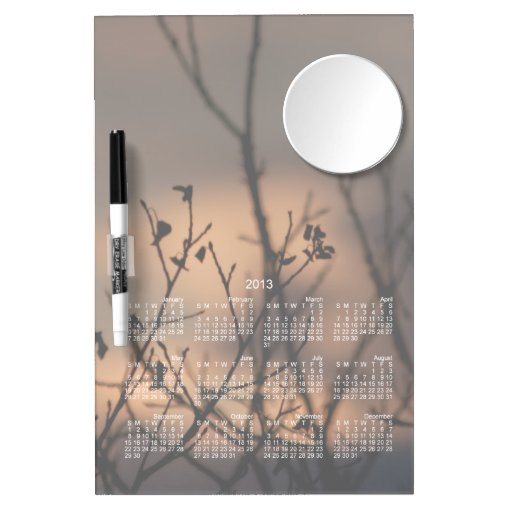 Sunset in the Background; 2013 Calendar Dry-Erase Board