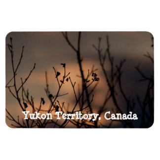 Sunset in the Background; Yukon Territory Souvenir Rectangular Photo Magnet