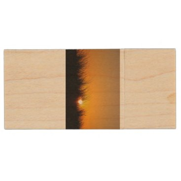 Beach Themed Sunset in the dunes wood flash drive
