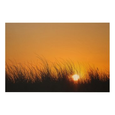 Beach Themed Sunset in the dunes wood print