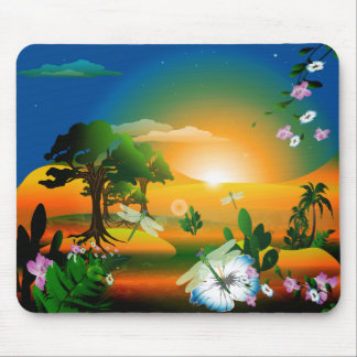 Sunset in the fantasy world mouse pad