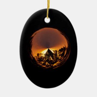 Sunset in the globe ceramic ornament