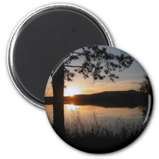 Sunset in the Mountains 2 Inch Round Magnet