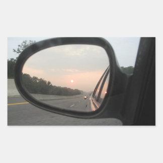 Sunset in the Rearview Mirror Rectangular Sticker